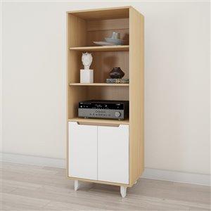 Bibliothèque et cabinet audio Nordik, blanc et érable