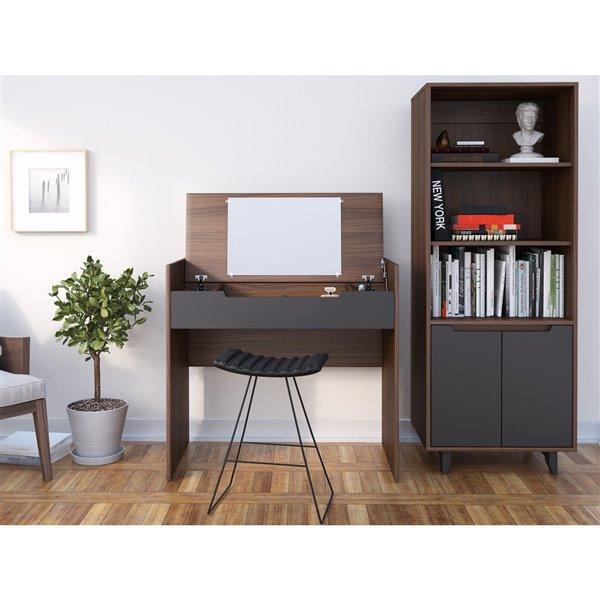 Nexera Alibi Walnut and Charcoal Bookcase and Audio Tower