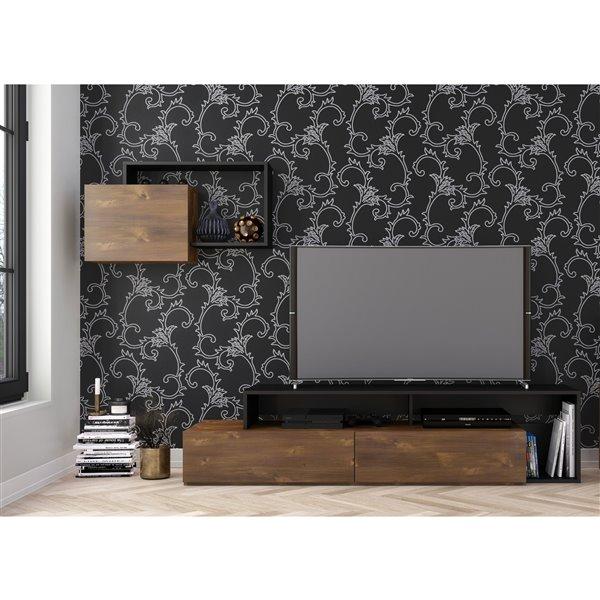 Nexera Paisley 72-in Truffle and Black TV Stand