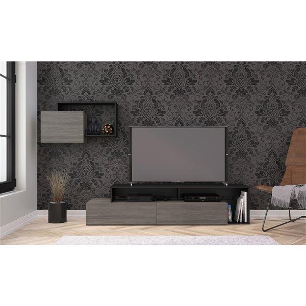 Nexera Damask Bark Grey and Black TV Stand