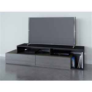 Nexera Damask Bark Grey and Black TV Stand