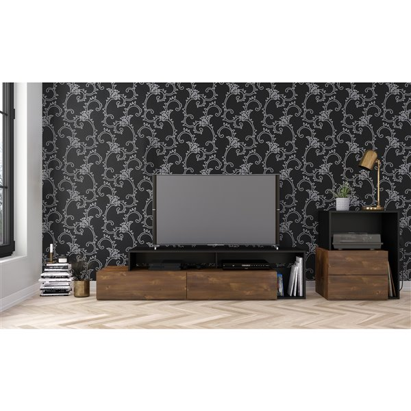 Nexera Paisley Truffle and Black Audio Tower with 1-Drop-Down Door and 1-Drawer
