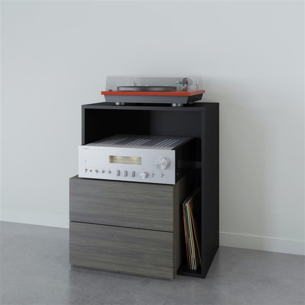 Nexera Damask Bark Grey and Black 1-Drawer Audio Tower
