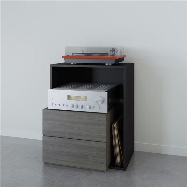 Tour audio Damask, 1 tiroir, gris écorce et noir