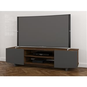 Nexera Helix 72-in Truffle and Charcoal Grey TV Stand