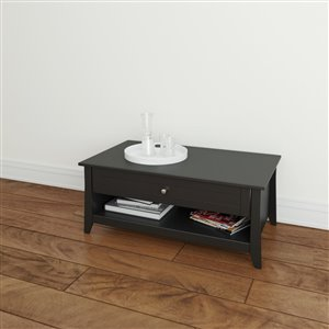 Nexera Tuxedo 24.13-in x 41.50-in x 17.50-in Matte Black Lacquer Finish Smart Storage Rectangular Coffee Table