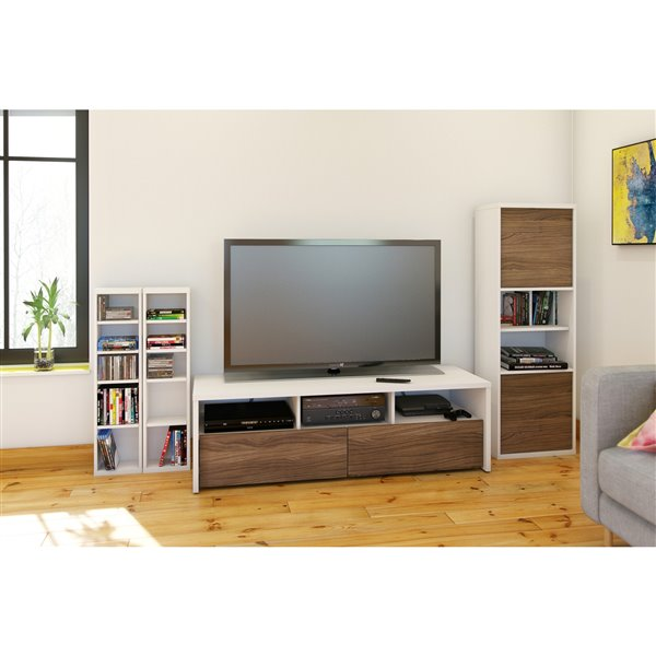 Nexera Liber-T White and Walnut TV Stand