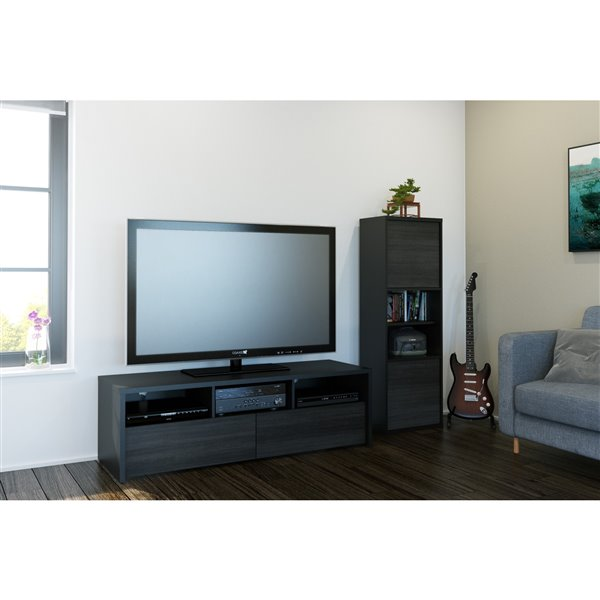 Nexera Sereni-T 60-in Black and Ebony TV Stand