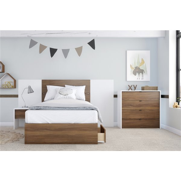 Nexera 1-Drawer White and Walnut Nightstand