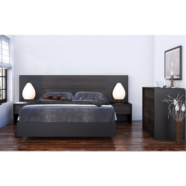 Table de nuit Nexera, 1 tiroir, noir et ébène