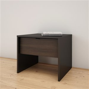 Nexera 1-Drawer Black and Ebony Nightstand