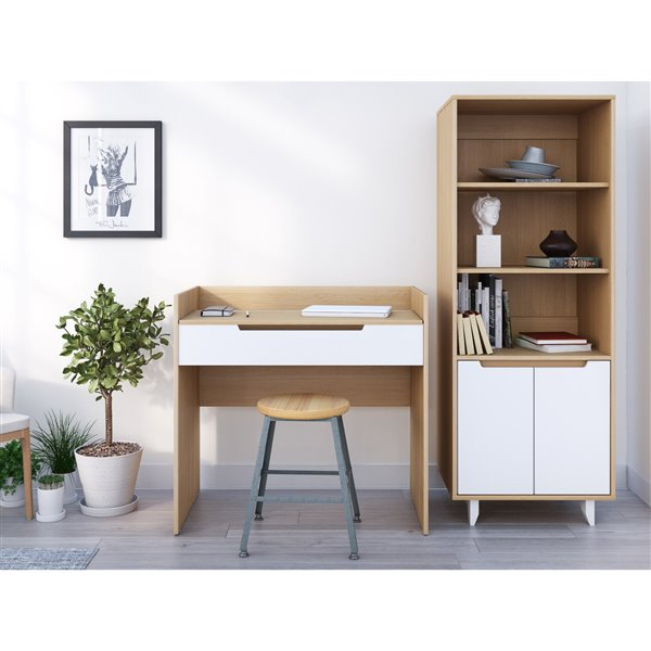 Nexera Nordik Light Finish 34.13-in x 36-in Natural Maple/White Vanity and Writing Desk