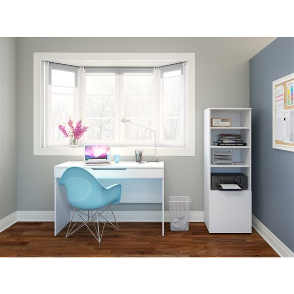 Nexera Arobas White Bookcase and Audio Tower