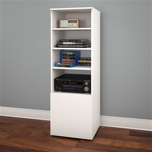 Nexera Arobas White Bookcase and Audio Tower