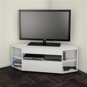 Nexera Blvd White Corner TV Stand