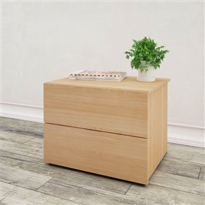 Nexera 2-Drawer Natural Maple Nightstand