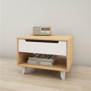 Table de nuit, 1 tiroir, blanc et érable naturel