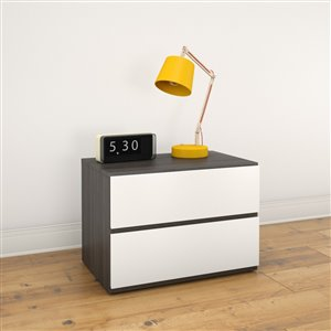 Nexera 2-Drawer Egony and White Nightstand