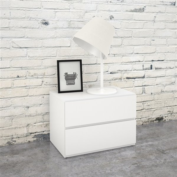 Table de nuit Nexera, 2 tiroirs, blanc