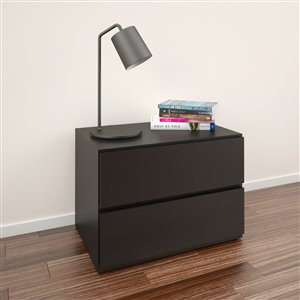 Nexera Black 2-Drawer Nightstand