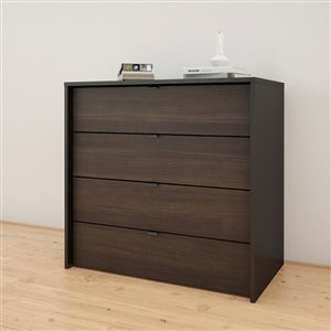 Nexera Ebony and Black 4 Drawer Chest
