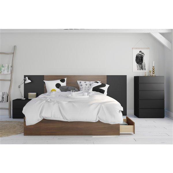 Nexera Queen Size Plank Effect Headboard Walnut