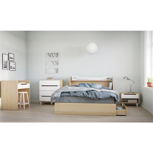 Nexera Queen Size Storage Headboard White and Maple