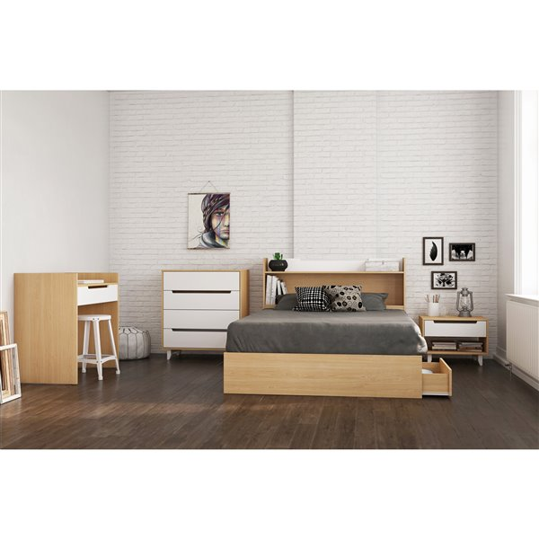 Nexera 40-In x  55.25-In Full Size  White and Natural Maple Storage Headboard