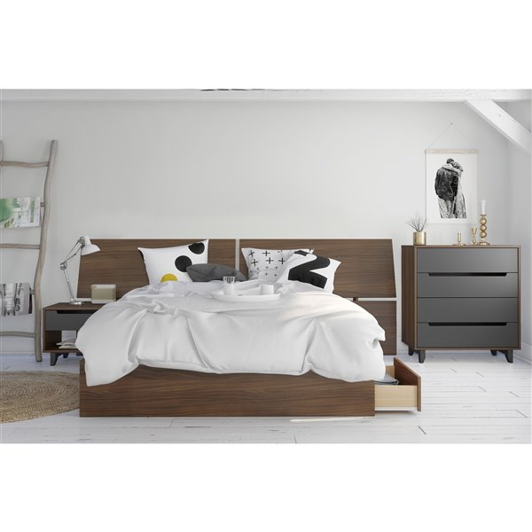 Nexera 37.50-In x 102-In Walnut Queen  Size Panoramic Headboard