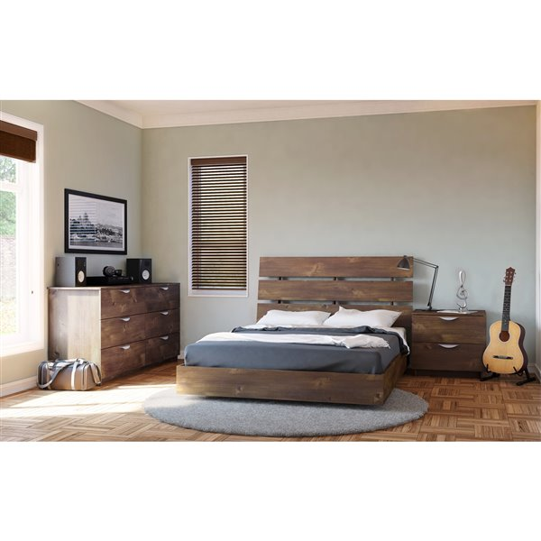 Nexera Truffle 76-in x 55.25-in Full Size Platform Bed