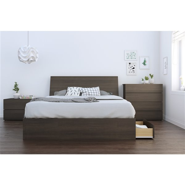 Nexera 3 Drawer Ebony 81.75-in x 62-in Queen Size Bed