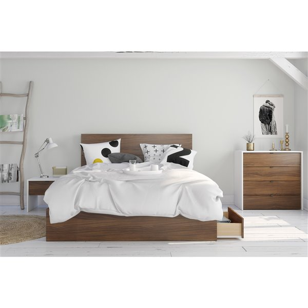 Nexera 3 Drawer Walnut 81.75-in x 62-in Queen Size Platform Bed