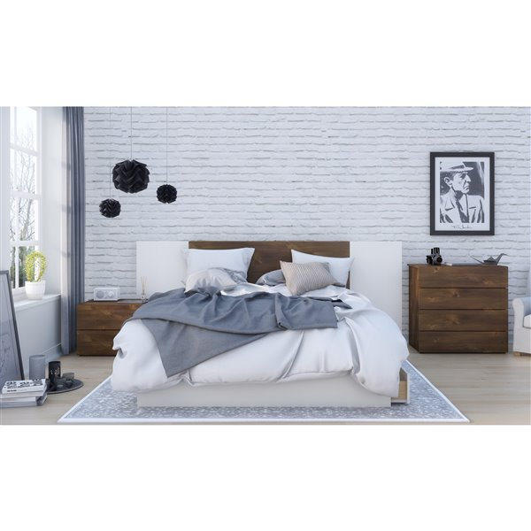 Nexera 3 Drawer Walnut White 81.75-in x 62-in Queen Size Bed