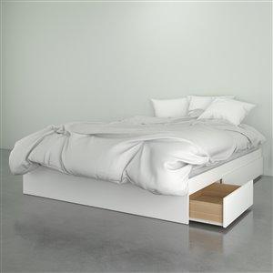 Nexera 3 Drawer Walnut White 81.75-in x 62-in Queen Size Bed
