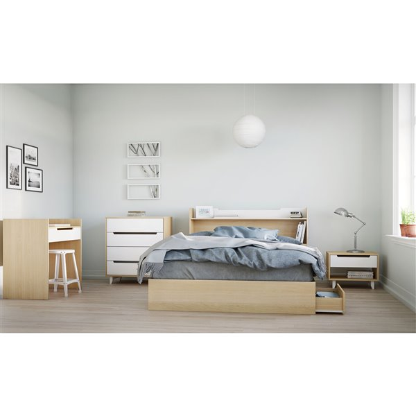 Nexera Bed with 3-Drawer - Natural Maple - Queen