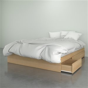 Lit Nexera avec 3 tiroirs, érable naturel, grand lit