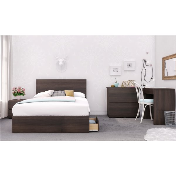 Nexera 3 Drawer Ebony 76-in x 56-in Full Size Bed