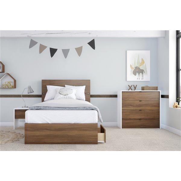 Nexera Walnut 3 Drawer 76-in x 41.13-in Twin Size Bed