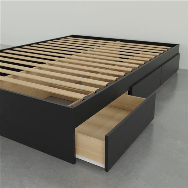 Lit simple Nexera Avenue, 3 tiroirs, noir