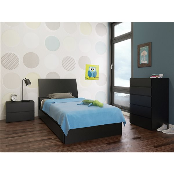 Nexera Avenue Black 3 Drawer 76-in x 41.13-in Twin Size Bed