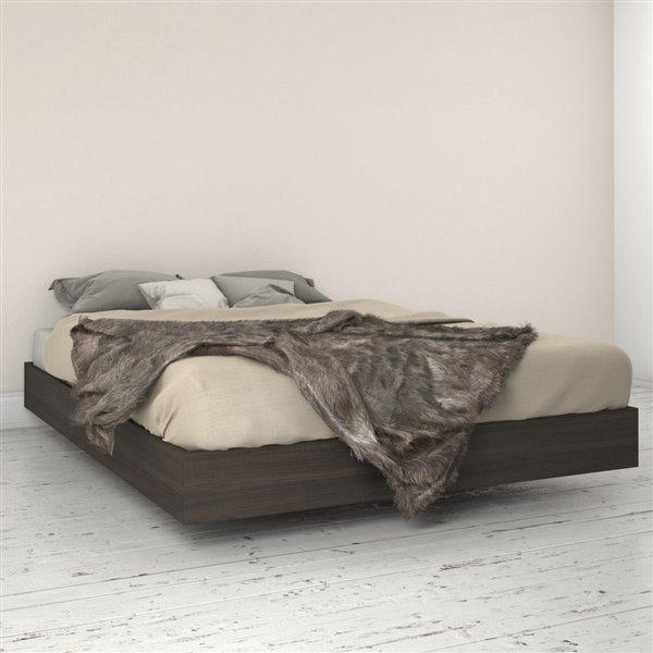 Lit plateforme Nexera, ébène, grand lit