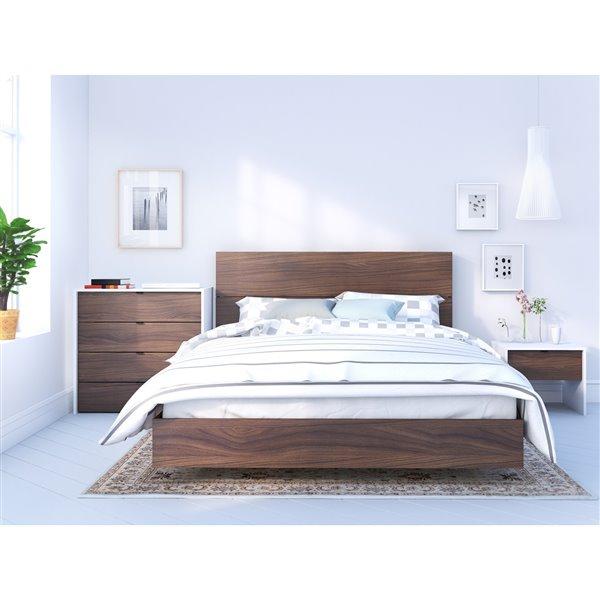 Nexera Platform Bed - Walnut - Queen Size