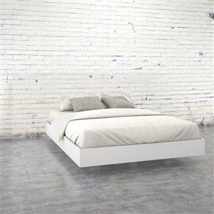 Grand lit plateforme Nexera, blanc