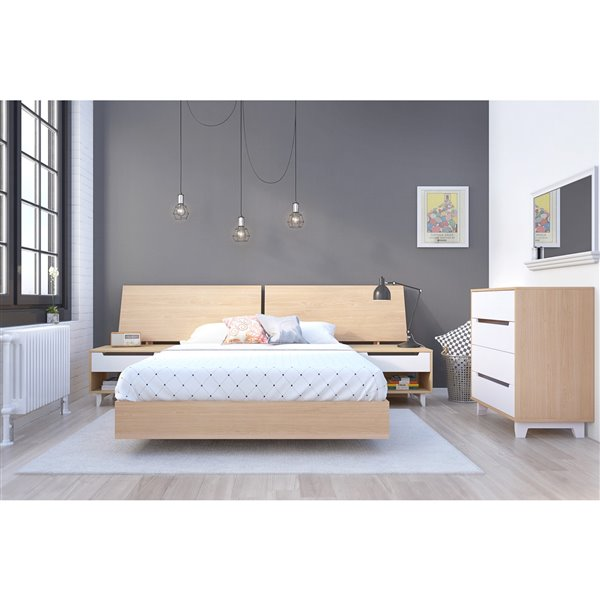 Nexera Natural Maple 76-in x 55.25-in Full Size Platform Bed