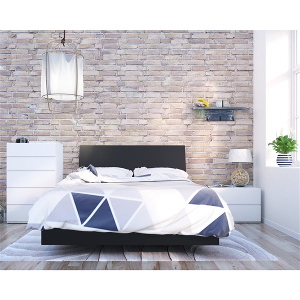 Nexera Black 76-in x 55.25-in Full Size Platform Bed