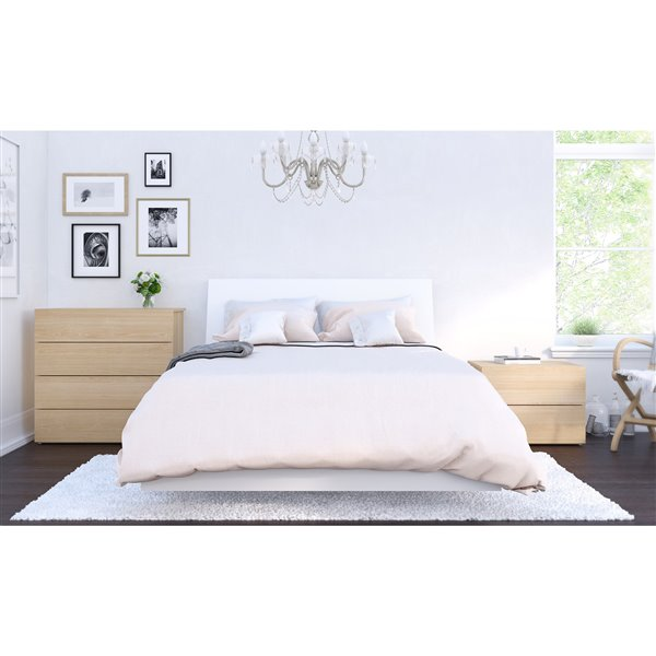 Nexera White 76-in x 55.25-in Full Size Platform Bed