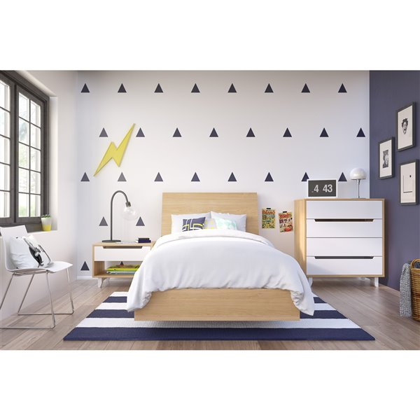 Nexera Truffle 76-in x 41.13-in Twin Size Platform Bed