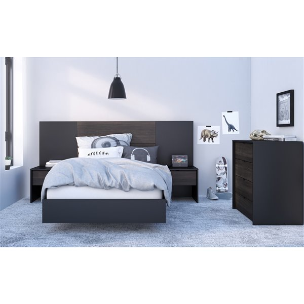 Nexera Black 76-in x 41.13-in Twin Size Platform Bed