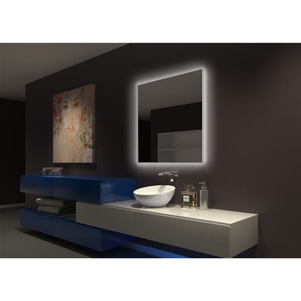 "Miroir original rétroéclairé, 36"" x 36"", 6000k"