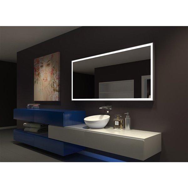 """Miroir à éclairage DEL intégré, 70"""" x  30"""", 3000K, 24V"""